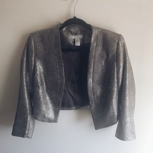 H&M Silver and Gold Sequin Cropped Blazer